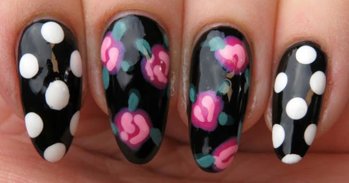 Nail Art: A Classic Rose And Polka Dot Design