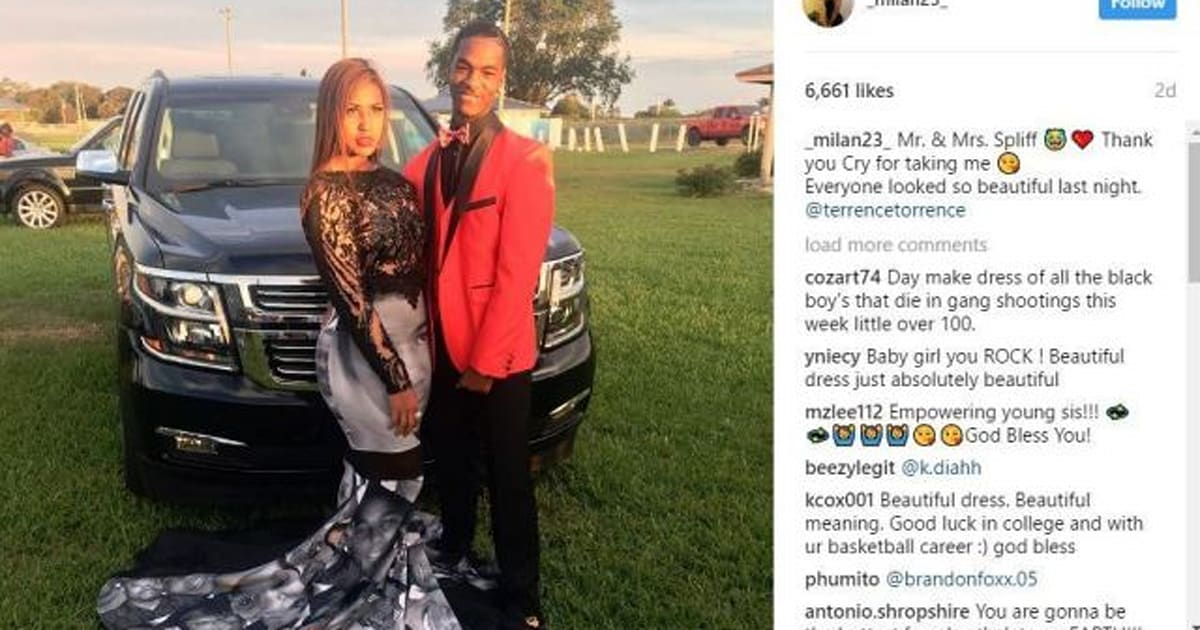 19f44e3f1cc Teen Wears Prom Dress That Honours Black Lives Matter