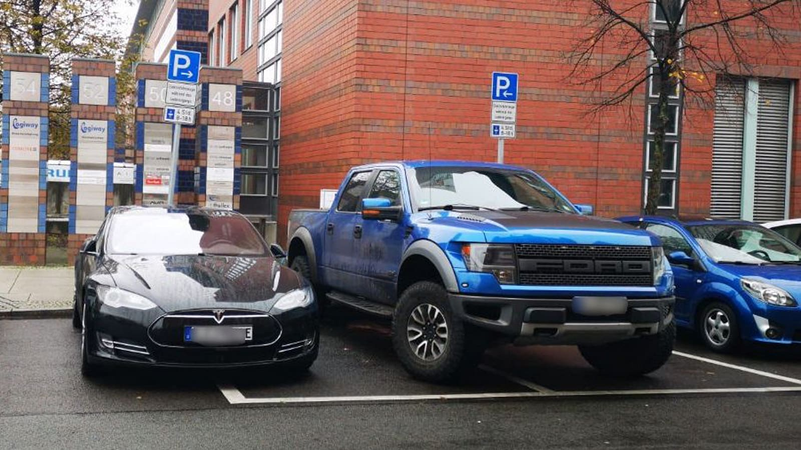 Justice swoops down from on high, snatches truck blocking EV chargers