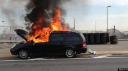 Pont Jacques-Cartier : une voiture en flammes a perturbé la