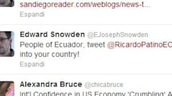 Appello di Snowden all'Ecuador su Twitter :