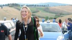 Sharon Stone al concerto di Andrea Bocelli a