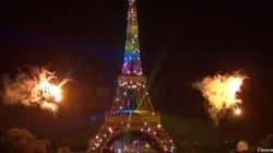 14 juillet: l'arc-en-ciel sur la Tour Eiffel, clin d'œil à Mandela pas au mariage