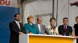 Un drone se pose à quelques mètres de Merkel
