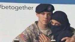 Un soldat américain enlace une femme en niqab: la pub qui fait