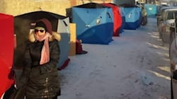 Camped Out In Ice Fishing Shacks On Regina Street For Special