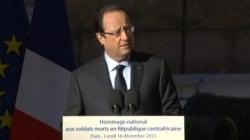 Centrafrique : Hollande rend hommage aux deux soldats français