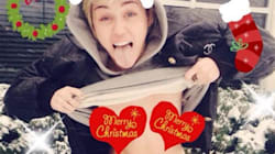 Miley Wishes Us A Topless Christmas And Happy Free