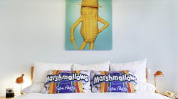 WATCH: Hotel's Foodie Dream Room Includes Swiss Cheese Ceiling, Marshmallow