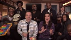 WATCH: Idina, Fallon & The Roots Play 'Let It Go' On Classroom
