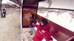 Bus Shelter Heats Up When You Hold