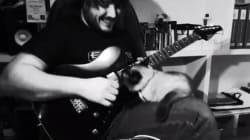 ソロギターの演奏を執拗にジャマする「メタルなネコ」【動画】