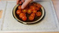 Sai tagliare un piatto di pomodorini in un colpo solo?