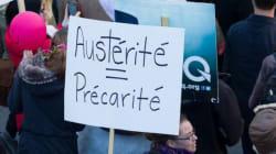 L'ASSÉ manifeste brièvement contre l'austérité à la Tour de la Bourse de