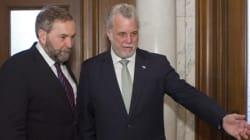 Mulcair et Couillard discutent du pont Champlain
