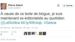 «Je suis maintenant ex-éditorialiste au quotidien Le Droit»: ce texte qui a coulé Pierre