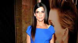 Sandra Bullock Looks Like Royalty In Cobalt-Blue