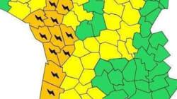 Orages: vigilance orange pour 16 départements vendredi