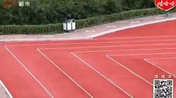 Une piste d'athlétisme à angles