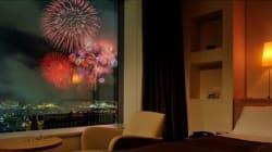 部屋から見る花火は、まさに大画面!