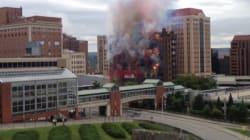 Un immeuble détruit en