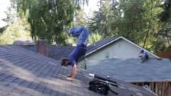 No intentes esto en casa: para él, un tejado es una pista de baile