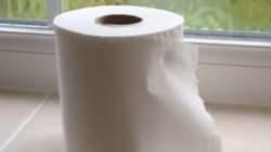 Un père épuisé présente sa vidéo explicative sur le changement de rouleau de papier de
