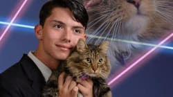 Un chat + des lasers = la photo de classe