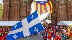 Barcelone: du bleu et blanc parmi la forêt de drapeaux