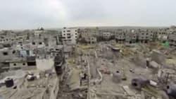 Un drone mostra la devastazione di Gaza