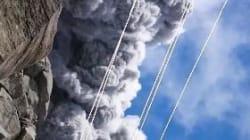 Il filme l'éruption d'un volcan puis se fait rattraper par le nuage de