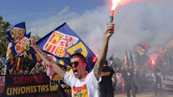 Grupos falangistas se manifiestan en Barcelona: