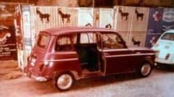 La Renault rossa di Moro abbandonata dietro un albero di