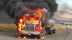 Truck Hauling Explosive Material Catches Fire Near
