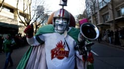 Excited Fans Celebrate At Grey Cup Pre-Game