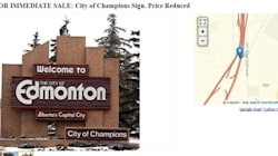 Flames Fan Puts Edmonton's 'City Of Champions' Sign Up For