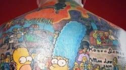 203 personnages des Simpson tatoués sur son dos
