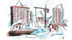 Une ville emprisonnée dans la glace en