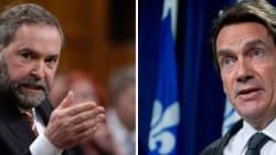 Péladeau et Mulcair en conférence à Montréal le 14 mars
