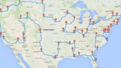 アメリカ48州をすべて立ち寄る旅行の地図を、数分で作る方法