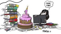 NKM caricature Hidalgo pour son anniversaire à la mairie de