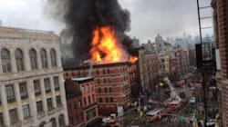 Un incendio a Manhattan, crolla un palazzo (FOTO,