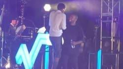 Stromae sur scène avec Kanye West à