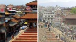 Avant / après : L'héritage du Népal réduit à des tas de