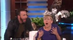 Chris Evans fait faire le saut à Scarlett Johansson sur le plateau d'Ellen