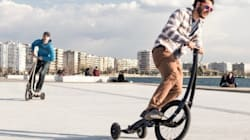 Mistura de bicicleta com triciclo bomba no