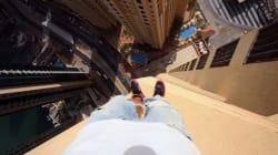 背筋がゾクリ ビルの支柱を命綱なしで飛び越える男(動画)