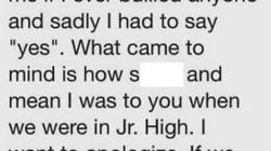 Il bullo si pente 20 anni dopo e chiede scusa al copagno di classe