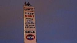 Une pancarte érigée à Montréal contre l'oléoduc