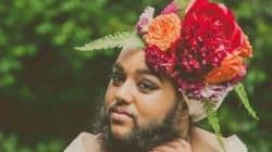Cette jeune Anglaise barbue en robe de mariée va vous
